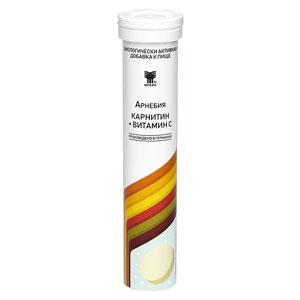 АРНЕБИЯ КАРНИТИН + ВИТАМИН С, шипучие таблетки по 20 штук в пластиковой тубе