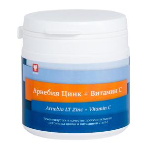 АРНЕБИЯ Цинк + Витамин С, таблетки для рассасывания по 60 штук в пластиковой банке
